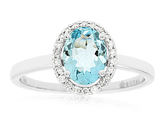 Oval Aquamarine with Diamond Halo Ring