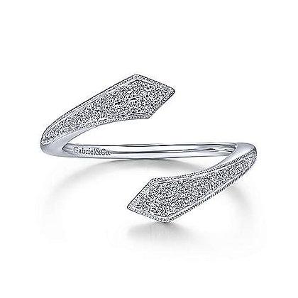 Diamond Pavé Bypass Open Ring