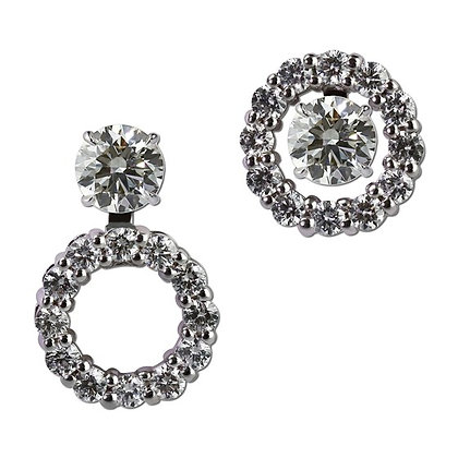 Round Diamond Halo Convertible Earring Jackets