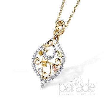 Floral Design Two Tone Fancy Diamond Pendant