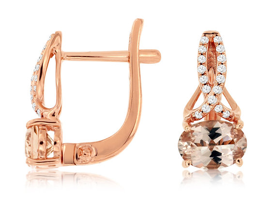 Drop Oval Morganite and Diamond Dangle Earring