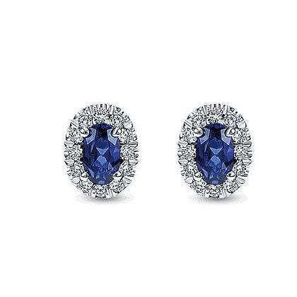 Oval Sapphire and Diamond Halo Stud Earrings
