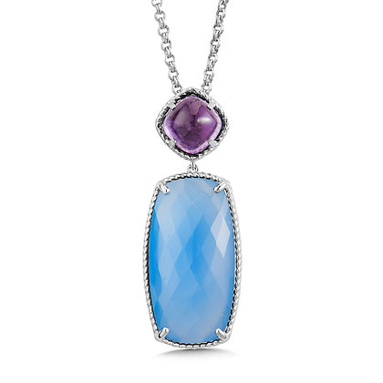 Amethyst and Blue Chalcedony Sterling Silver Necklace