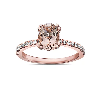 Oval morganite rose gold ring with diamond accents