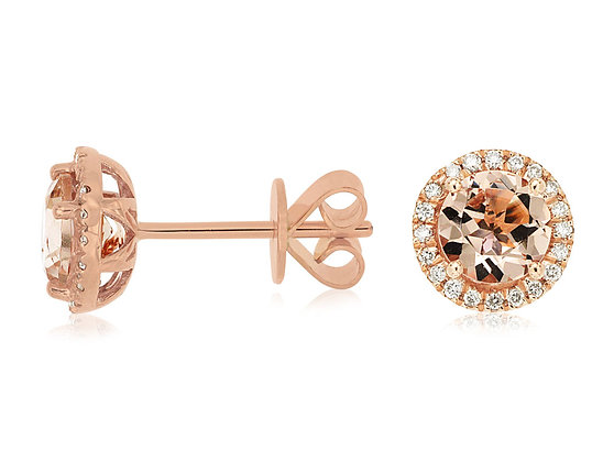 Round Morganite and Diamond Earring