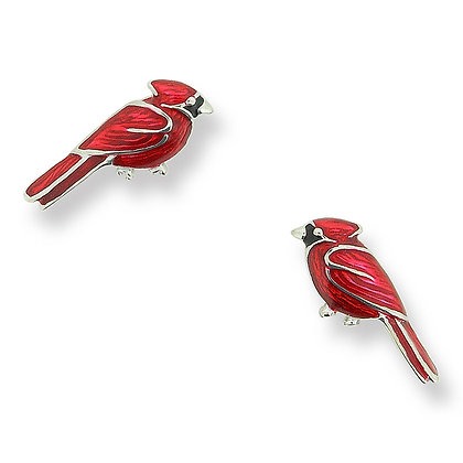 Red Cardinal Bird Stud Earrings