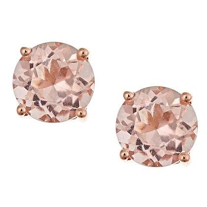 3.70ct Round Morganite Stud Earrings