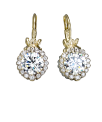 Vahan Halo CZ and Diamond Earrings