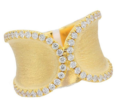 14kt Concave Design Ring with Diamond Accents