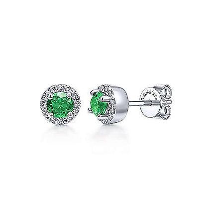 Petite Emerald and Diamond Halo Stud Earrings
