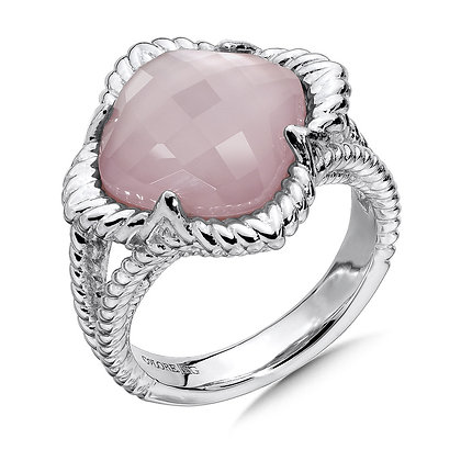 White Quartz & Dyed Rose Mother of Pearl Fusion Ring