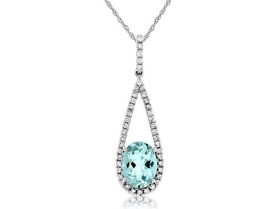 Tear Drop Diamond and Oval Aquamarine Pendant