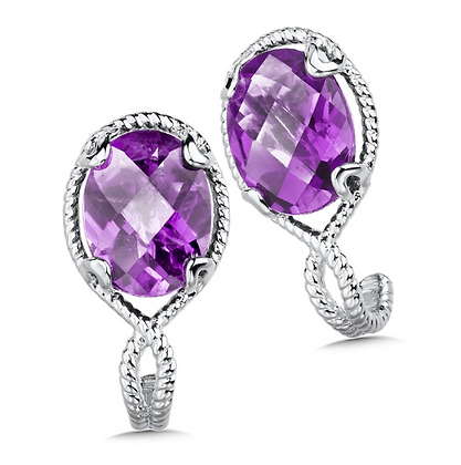 Colore Amethyst and Sterling Silver Drop Stud Earrings
