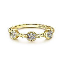 Twisted Rope Cluster Diamond Station Stackable Ring