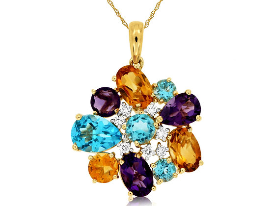 Diamond and Semi Precious Gemstone Cluster Pendant
