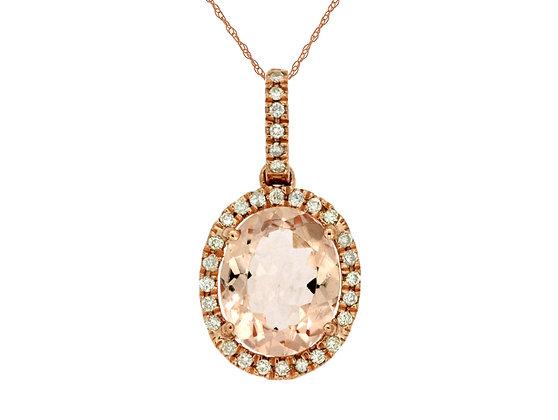 Oval Morganite and Diamond Pendant