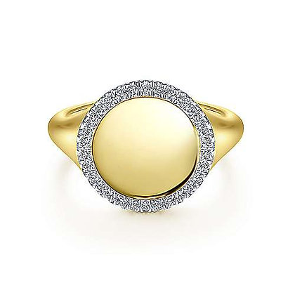 Signet Ring with Diamond Halo