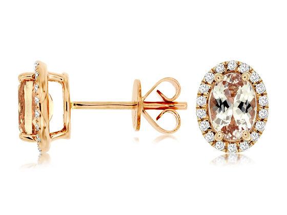 Oval Morganite and Diamond Stud Earring