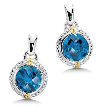 Colore Drop Blue Topaz Dangle Earrings