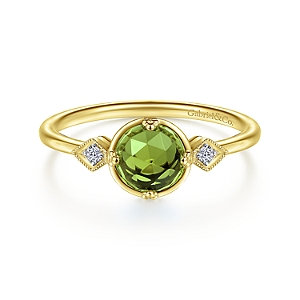 14K Yellow Gold Three Stone Peridot and Diamond Ring