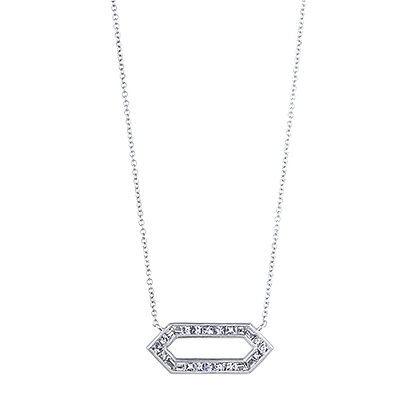 Silhouette Horizontal Hexagon Necklace in White Gold
