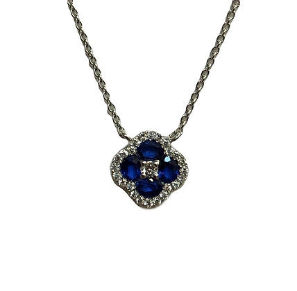 Blue Sapphire and Diamond Floral Pendant