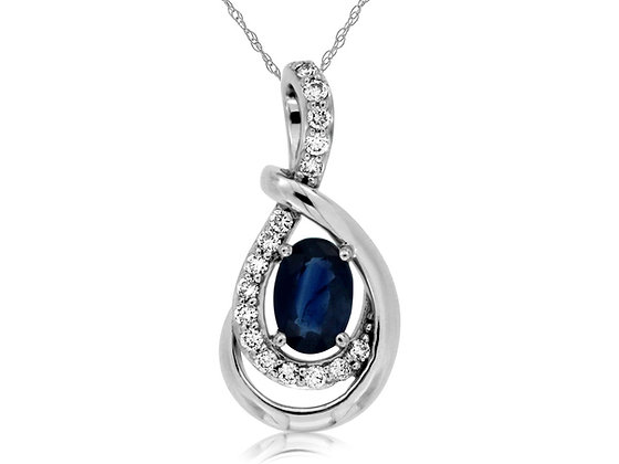 Twisted Diamond and Blue Sapphire Pendant