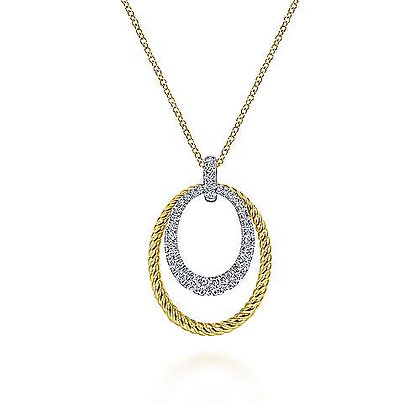 Oval Twisted Rope and Pavé Diamond Pendant Necklace