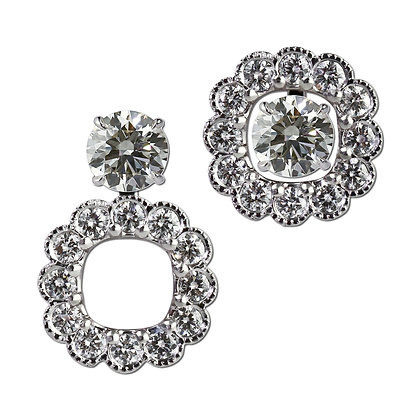 Square Round Diamond Convertible Earring Jackets