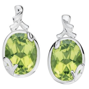 Colore Oval Peridot Drop Earrings
