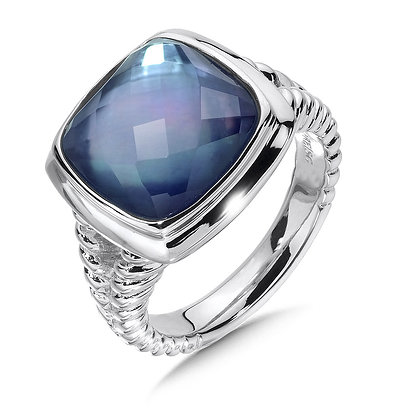 Quartz & Dyed Blue Mother of Pearl Fusion Ring