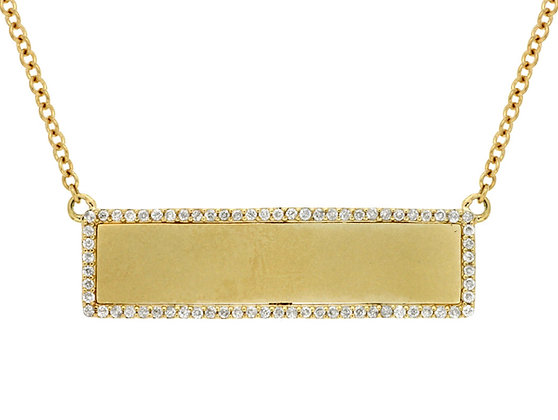 Diamond Plate Bar Necklace