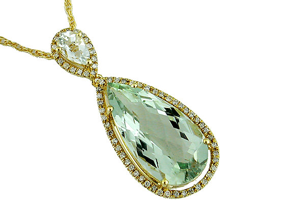 Diamond and Green Amethyst Pendant
