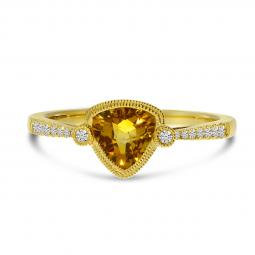 14K Yellow Gold Trillion Citrine and Diamond Millgrain Semi Precious Ring