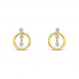14K Yellow Gold Dashing Diamond Pierced Diamonds Front Hoop Earrings