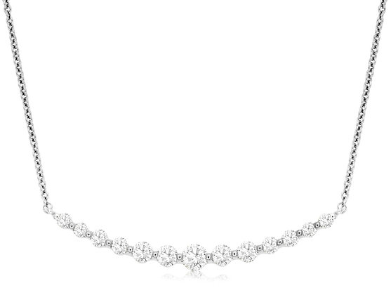 Graduated Diamond Curve Bar Necklace