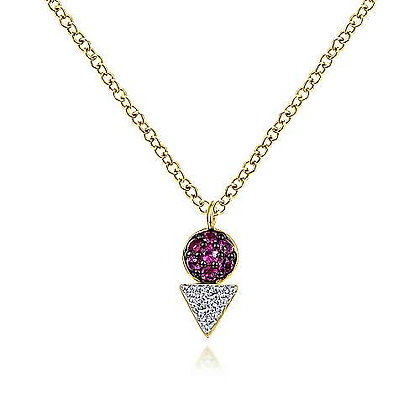 Geometric Ruby and Diamond Necklace