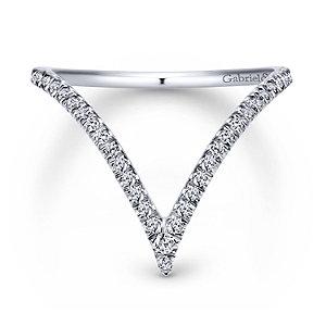 14K White Gold Curved Pave Diamond V Ring