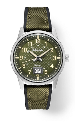 SEIKO PATTERNED GREEN DIAL ESSENTIALS WATCH
