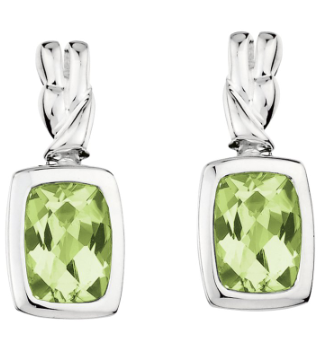 Colore Sterling Silver Rectangle Peridot Drop Earrings