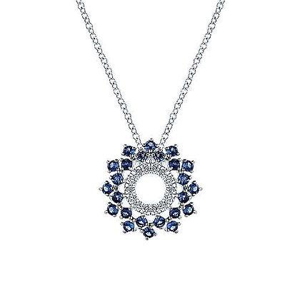 Openwork Diamond and Sapphire Fashion Necklace