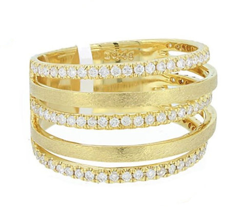 Diamond Satin Finish Stack Ring