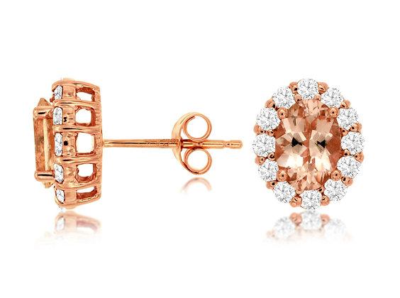 Oval Morganite and Diamond Halo Stud Earrings