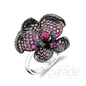 Orchid Sapphire and Ruby Ring