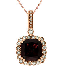Cushion Cut Rhodolite and Diamond Pendant