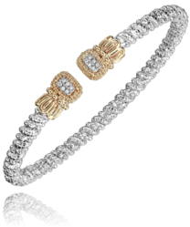 Vahan Square Diamond Cluster Open Bangle