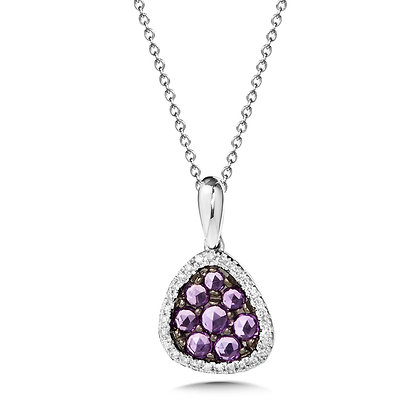 Rose Cute Amethyst and Diamond Cluster Pendant