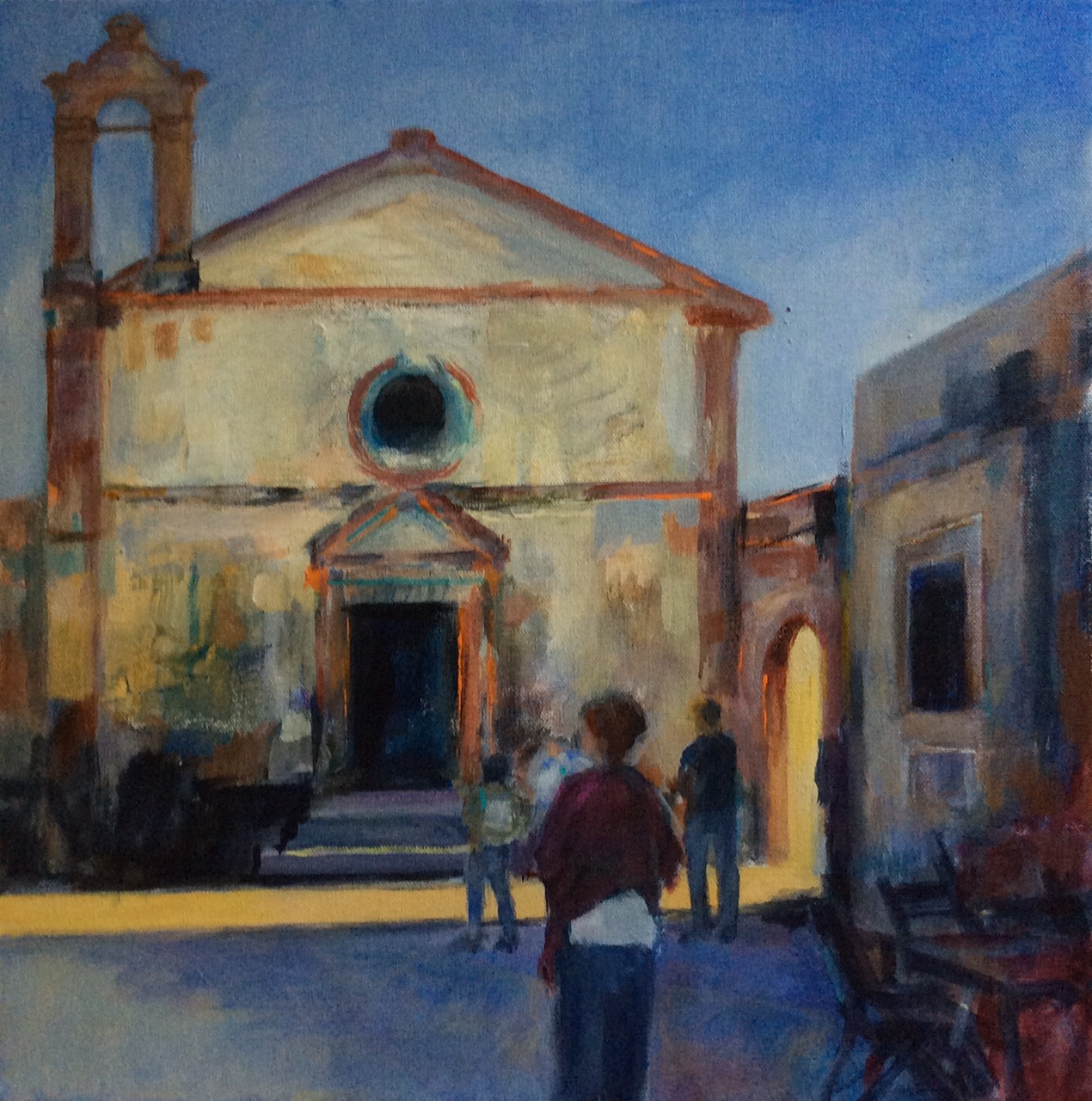 Late Afternoon in Marzamemi, - acrylic on canvas