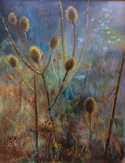 Golden Teezles - acrylic on canvas