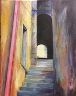 Alleyway, Ragusa - acrylic on canvas